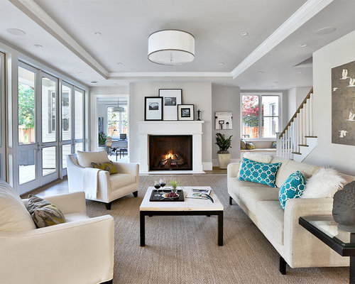 Inspiration For A Transitional Living Room Remodel In San Francisco With Gray Walls