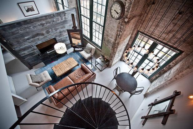 Industriel Salon by Heirloom Design Build