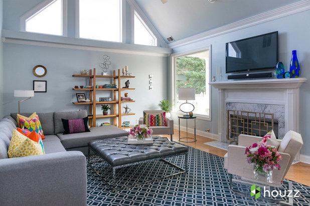 Transitional Living Room by Rachel Oliver Design, LLC