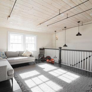 ボストンの大きいシャビーシック調のおしゃれなLDK (ミュージックルーム、白い壁、濃色無垢フローリング、グレーの床) の写真