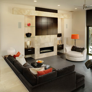 Example of a large trendy open concept porcelain floor and gray floor living room design in Sacramento with a tile fireplace, beige walls, a ribbon fireplace and a concealed tv
