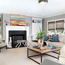 Transitional Living Room by Granoff Architects