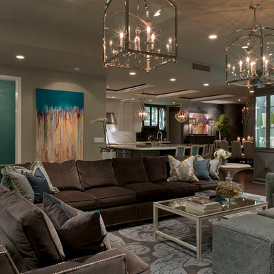 Inspiration for a contemporary open concept living room remodel in Austin with beige walls
