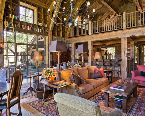 Design Ideas For A Rustic Open Plan Living Room In Denver With Grey Walls,  Medium