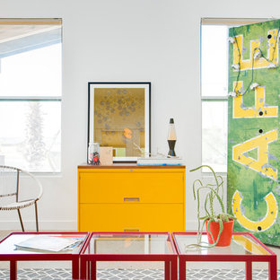 Eclectic living room photo in Austin with white walls