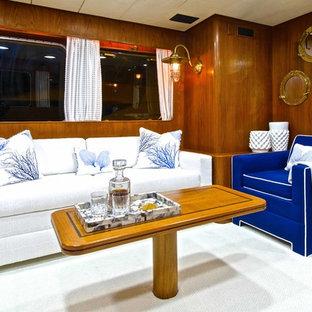 Living room - small coastal enclosed living room idea in Miami