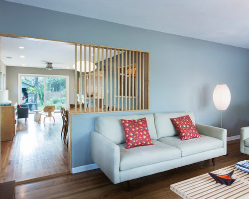Inspiration For A Modern Enclosed Living Room Remodel In Austin With Blue  Walls