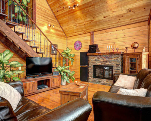 Rustic living room design ideas renovations photos with for Wood floor 05194 avila