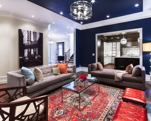 Large Trendy Open Concept Living Room Photo In Toronto With Blue Walls A Standard Fireplace