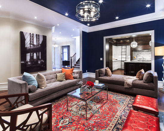 Living Room Red Rug blue and red rug | houzz