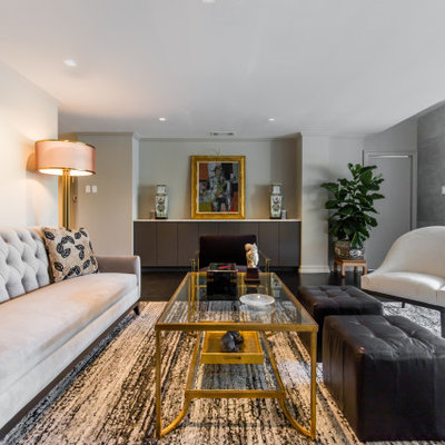 Inspiration for a mid-sized contemporary open concept dark wood floor and black floor living room remodel in Dallas with gray walls