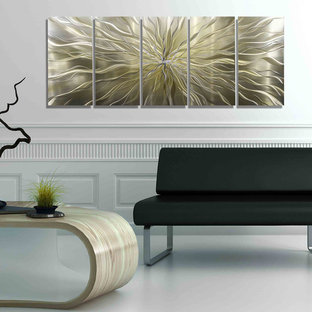 Axiom - Large Abstract Silver and Gold Hand-Etched Modern Art Metal Wall Decor