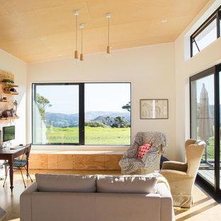 Offenes Skandinavisches Wohnzimmer mit weißer Wandfarbe, Sperrholzboden, Kaminofen und braunem Boden in Auckland
