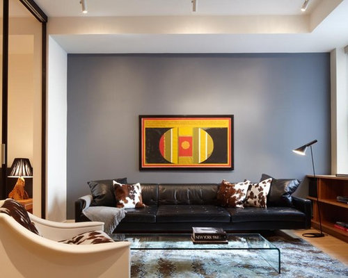 Inspiration For A Contemporary Enclosed Living Room Remodel In New York With Gray Walls