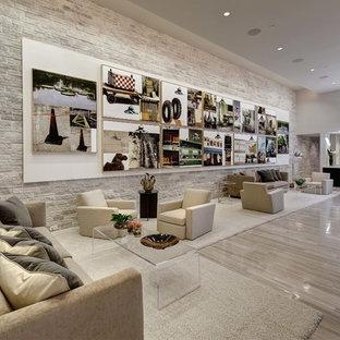 Modelo de salón con barra de bar abierto, moderno, con paredes blancas y suelo de piedra caliza