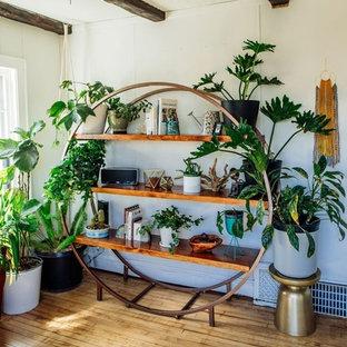 Immagine di un piccolo soggiorno tropicale chiuso con libreria, pareti bianche, parquet chiaro, nessun camino, nessuna TV e pavimento beige