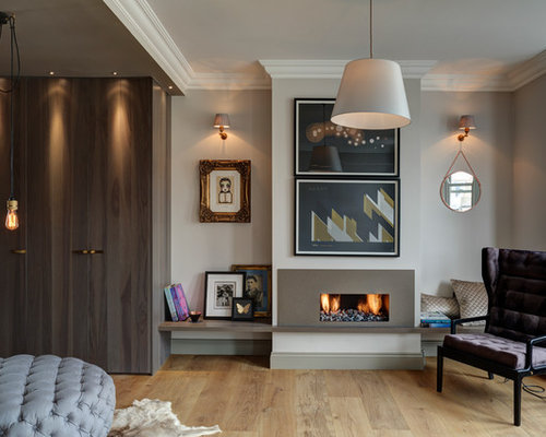 Inspiration For A Contemporary Living Room In London With Beige Walls,  Light Hardwood Flooring And Part 75