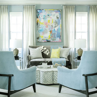 Mid-sized transitional formal and enclosed medium tone wood floor living room photo in New York with blue walls and no tv