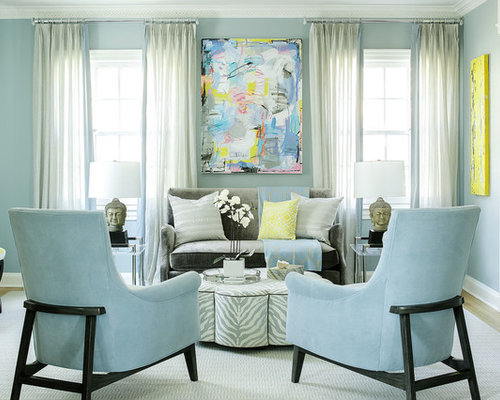 Blue living room houzz for Blue living room decor ideas