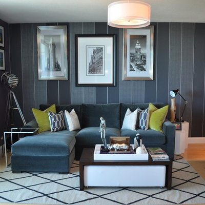 Trendy light wood floor living room photo in Miami with gray walls