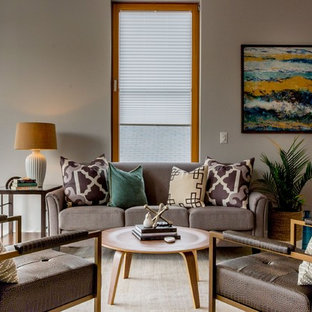 Photo Of A Medium Sized Contemporary Formal Open Plan Living Room In Portland Maine With Grey