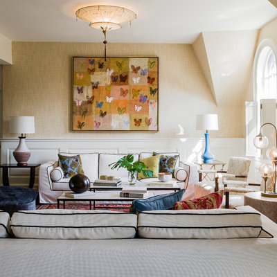 Living room - mid-sized contemporary formal and enclosed living room idea in Boston with beige walls and no tv