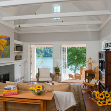 Farmhouse Living Room by BC&J Architecture