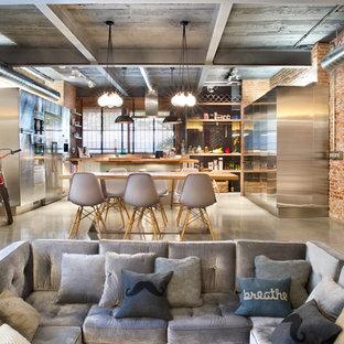Immagine di un ampio soggiorno industriale aperto con sala formale, pavimento in cemento, pareti arancioni, nessun camino e nessuna TV
