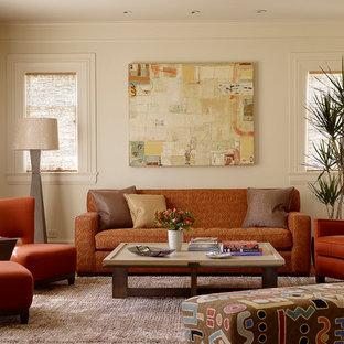 サンフランシスコの中くらいのコンテンポラリースタイルのおしゃれな独立型リビング (白い壁、カーペット敷き、暖炉なし、テレビなし) の写真