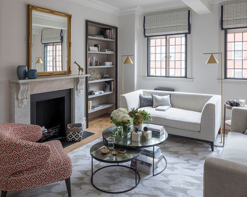 Medium Sized Traditional Formal Enclosed Living Room In London With Grey  Walls, A Standard Fireplace