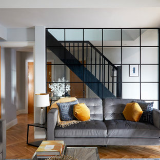 This is an example of a medium sized contemporary enclosed living room in London with grey walls, medium hardwood flooring, a vaulted ceiling and brown floors.