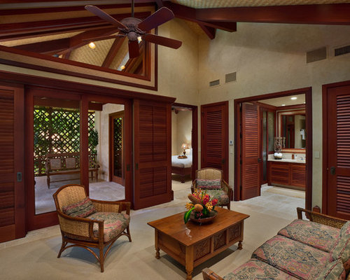 island style living room photo in hawaii with beige walls - Balinese House Designs