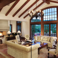 Mediterranean Living Room by Precision Construction West, Inc.