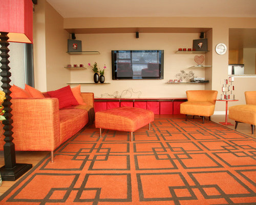 Example Of A Trendy Living Room Design In San Francisco With Beige Walls  And A Wall Part 75
