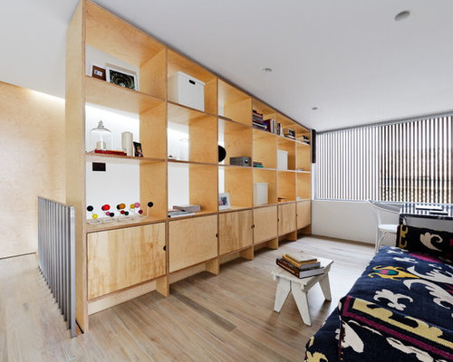 Mid Sized Danish Light Wood Floor Living Room Photo In Sydney With White  Walls