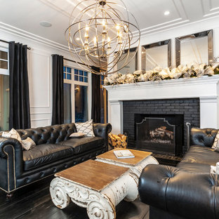 Inspiration For A Transitional Dark Wood Floor Living Room Remodel In Edmonton With White Walls
