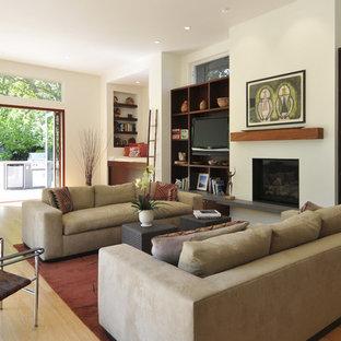 サンフランシスコのコンテンポラリースタイルのおしゃれなLDK (ライブラリー、標準型暖炉、白い壁、無垢フローリング、漆喰の暖炉まわり、埋込式メディアウォール) の写真