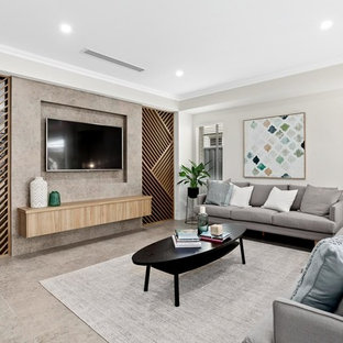 Contemporary Formal Enclosed Living Room In Perth With Beige Walls, A  Wall Mounted Tv
