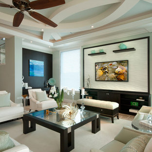 Inspiration For A Large Transitional Living Room Remodel In Miami With Green Walls And Wall