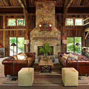 Living room - cottage living room idea in New York with a music area