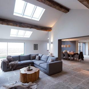 Ispirazione per un grande soggiorno contemporaneo aperto con pareti bianche, pavimento in pietra calcarea e sala formale
