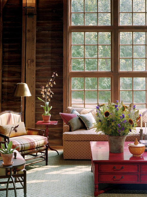 Inspiration For A Rustic Living Room Remodel In Philadelphia With Brown Walls