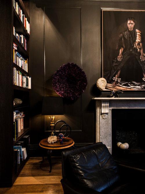 salon victorien avec un mur noir photos et id es d co de salons. Black Bedroom Furniture Sets. Home Design Ideas