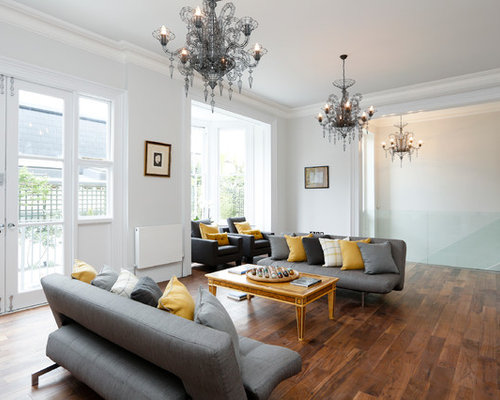 Inspiration For A Contemporary Living Room Remodel In London With White  Walls Part 39
