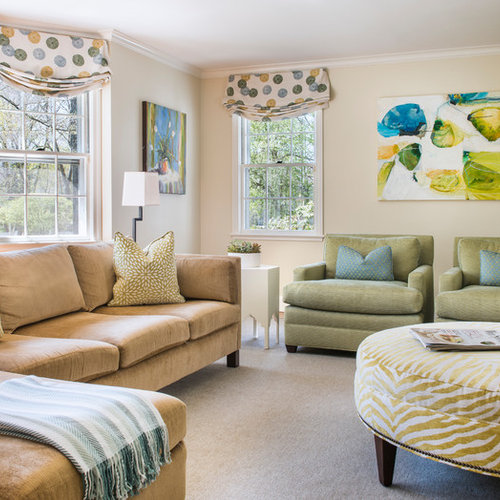 example of a classic carpeted and beige floor living room design in boston with beige walls - Carpet For Living Room Designs