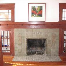 Craftsman Living Room by Custom Masonry & Fireplace Design Inc