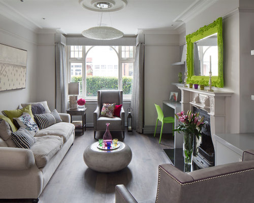 Living Room   Contemporary Living Room Idea In London With Gray Walls And A  Standard Fireplace