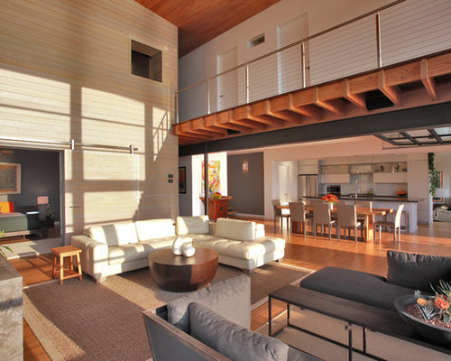 Mezzanine home design ideas pictures remodel and decor for Living room upstairs design