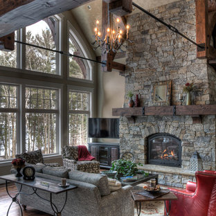 Attirant Mountain Style Formal Living Room Photo In Minneapolis With A Standard  Fireplace And A Stone Fireplace
