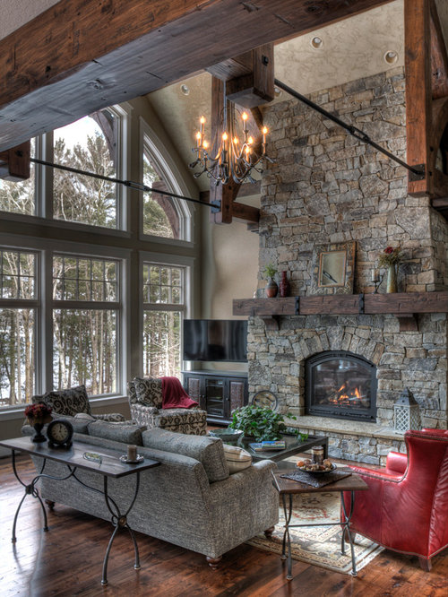 Wonderful Mountain Style Formal Living Room Photo In Minneapolis With A Standard  Fireplace And A Stone Fireplace